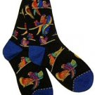 Laurel Burch Birds Of Paradise Black Socks
