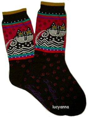 Laurel Burch Polka Dot Cat Black Socks