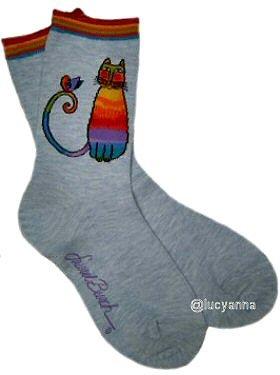 Laurel Burch Gray Kit Kat Socks