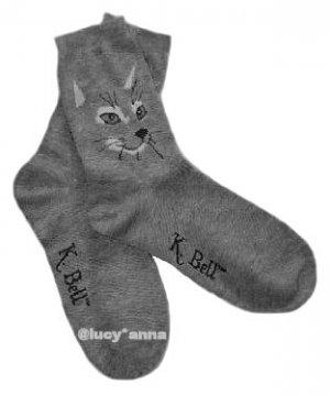 K.Bell Cat Face Socks Gray