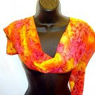 Brilliant Red-orange and gold silk scarf