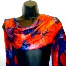 Bright red and royal blue hand painted silk scarf