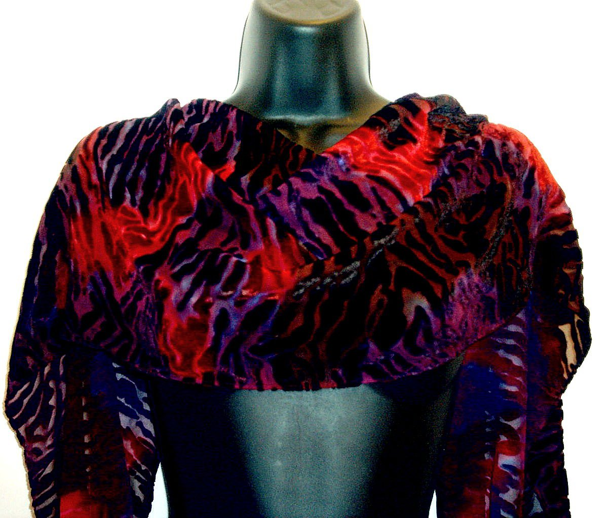 Fuchsia and Violet Hand dyed silk velvet scarf
