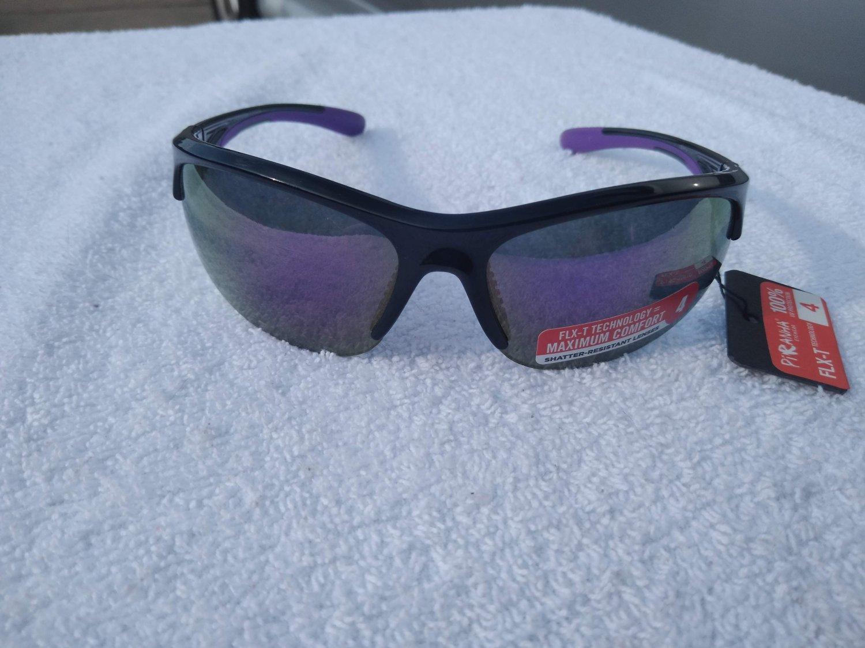 PiRanha Eyewear FLX-T Technology Sunglasses Black/Purple 100% UV 3020
