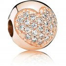 PANDORA Pave Heart Clip Charm Rose Gold, Cubic Zirconia 14k rose gold #35-1