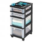 IRIS 4-Drawer Cart with Organizer Top and Casters, Black