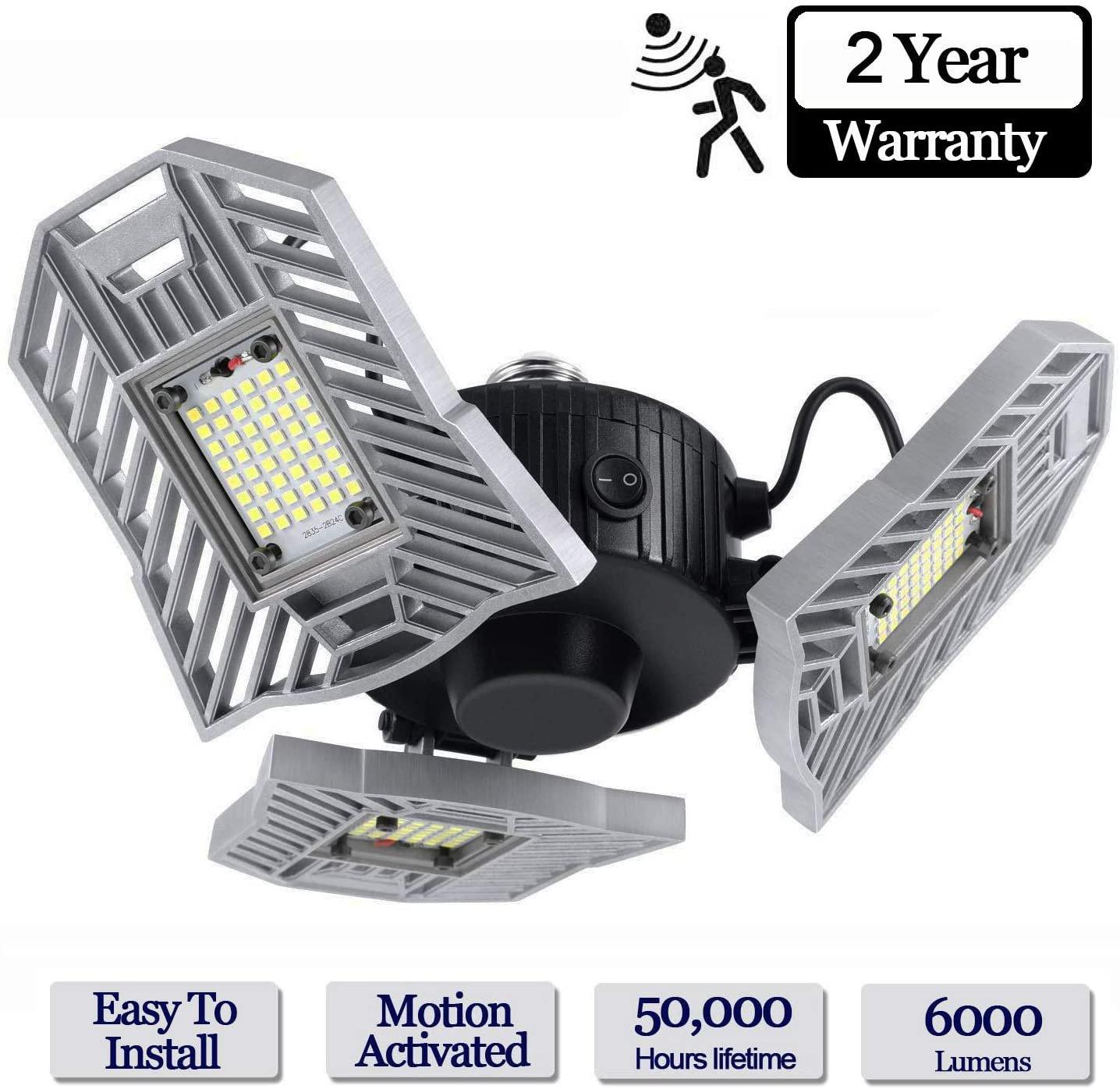 LED Garage Lights, 60W 6000LM Motion Activated LED Garage Ceiling Light Bulbs