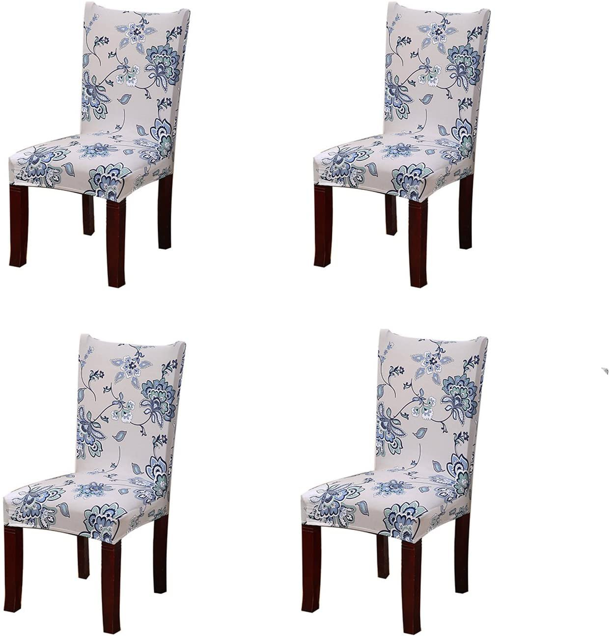 Stretchy Removable Washable Dining Chair Protector Slipcover - White w/Blue Flower