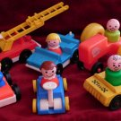 Lot of 13 Vintage Fisher Price People Vehicles Fire Truck Fireman Taxi Cars Dog