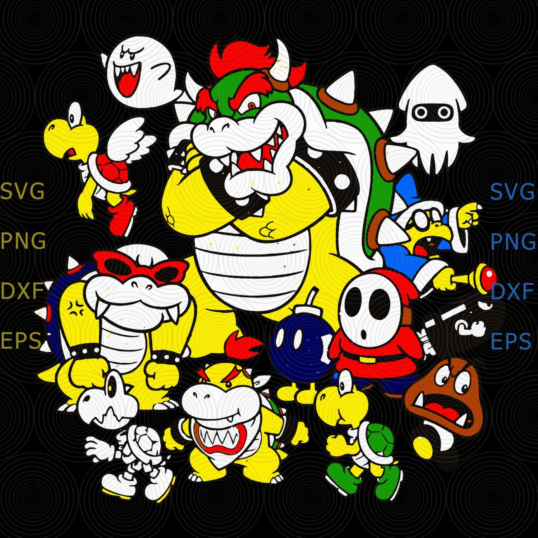 Nintendo Super Mario Bowser Enemy Group Svg, Super Mario, Nintendo svg