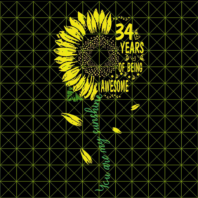 34th Birthday SvG, Vintage 1985, Birthday SvG, Party, Birthday Design, DxF