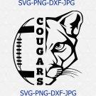 Cougars SVG, Football SVG, Cougars Football T-shirt Design, Football Mom Shirt