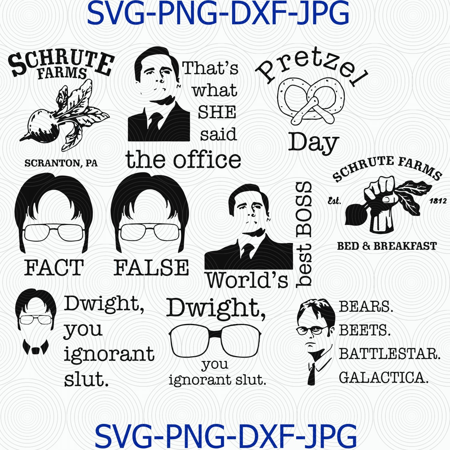 The Office Bundle svg, that's what she said, dwight you ingnorant slut svg, png