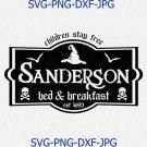 Sanderson Bed and Breakfast, Halloween SVG, PNG, Studio3 file, Hocus Pocus svg