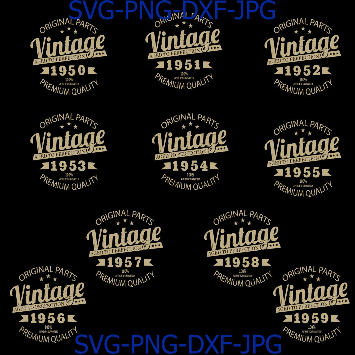 Vintage Birthday 1950-1959 Svg Cut File, Aged to Perfection Svg, Birthday Svg, Birthday gift svg