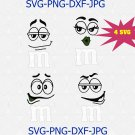 M & M Faces SVG, m and m tshirt clipart set, M&M faces shirt