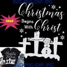 Christmas Begins With Christ Cross Snowman Funny Christmas SVG, PNG