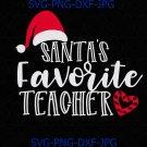 Santa's Favorite Teacher svg, teacher christmas, santa teacher svg