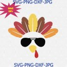 Turkey with glasses Svg, Turkey face svg for Cricut Silhouette Iron on, Thanksgiving SVG