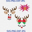 Reindeer face Svg for Cricut Silhouette Iron on Christmas SVG for boy Antlers SVG
