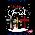 Christmas Begins With Christ Costume Xmas Christian Leopard Cross SVG