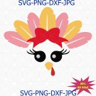 Turkey face SVG for girl, Turkey svg file for Cricut Silhouette Iron on, Thanksgiving SVG