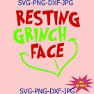 Resting Grinch Face SVG | PNG, Silhouette, Cricut, Instant Download