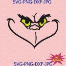 Grinch Face with Yello Eyes SVG | PNG, Silhouette, Cricut, Instant Download
