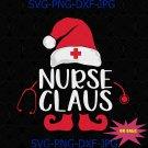 Nurse Claus Funny Santa Claus Hat Christmas Family Matching Registered Nurse SVG