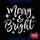 Merry & Bright Holiday SVG, DXF, digital download, printable, Cut File Cricut SVG