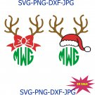 Christmas Reindeer Antlers Bow Santa Hat Monogram cutting file svg, dxf, Cricut