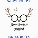 Merry Christmas Muggles SVG, Harry Reindeer SVG, Cute Christmas Wizard SVG