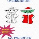 Baby Yoda svg, Baby yoda Santa hat clip art, The Mandalorian Cricut, The Child svg