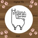 Llama Love You Forever SVG, Valentine's Day Cut File, Funny Heart Design