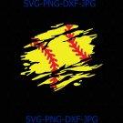 Softball Distressed Ball Torn Grunge, Softball League Design SVG, Softball League shirt