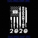Quarantine 2020 American Flag Distressed Funny Face Mask Vintage Silhouette SVG