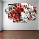 Gears 3D Wall Art Sticker Mural Decal Poster Home Office Garage Decor GE16