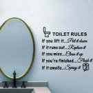 Toilet Rules Bathroom Removable Wall Sticker Vinyl Art Decals Diy Home Decor WF