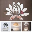 UK Blooming Lotus Flowers Acrylic Mirror Wall Sticker DIY Decal Home Mural Decor