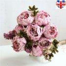 13/10 Heads Artificial Peony Flowers Silk Peony Wedding Bouquet Home Party Decor