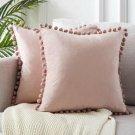 1x Velvet Cushion Cover Pom Poms Home Decorative Sofa Car Throw Pillow Case UK