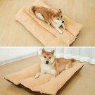 Dog Bed Pet Cat Puppy Bed Faux Fur Washable Plush Cushion Pillow Brown 125x80CM