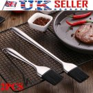 Stainless Steel Baking Bread Cook Pastry Oil Cream BBQ Basting Silicone Brush UK