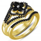 2Ct Round-Cut Black Diamond Pave Bridal Set Engagement Ring 14k Yellow Gold Over