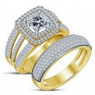 2.50Ct Cushion Diamond Bridal Set Solitaire Engagement Ring 14K Yellow Gold Over