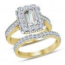 2.00 Ct Diamond Emerald Cut Bridal Set Engagement Ring 14K Yellow Gold Finish