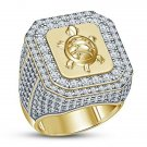 2.20 Ct Round Cut VVS1 Diamond Turtle Inspired Men's Ring 14K Yellow Gold Over