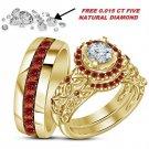 2.75 CT Diamond/Garnet 14K Yellow Gold Fn Engagement Ring Trio Set Wedding Band