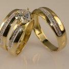 2 Ct Diamond Wedding 14K Yellow Gold Fn Trio His Her Bridal Engagement Ring Set