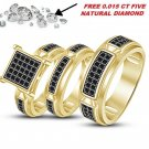 His & Her Men Women Diamond Rings 14K Yellow Gold Finish Wedding Band Trio Sets